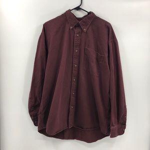 100% Cotton Wine Burgundy Button Down Canvas Shirt